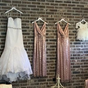 Davids Bridal sequin rose gold dress